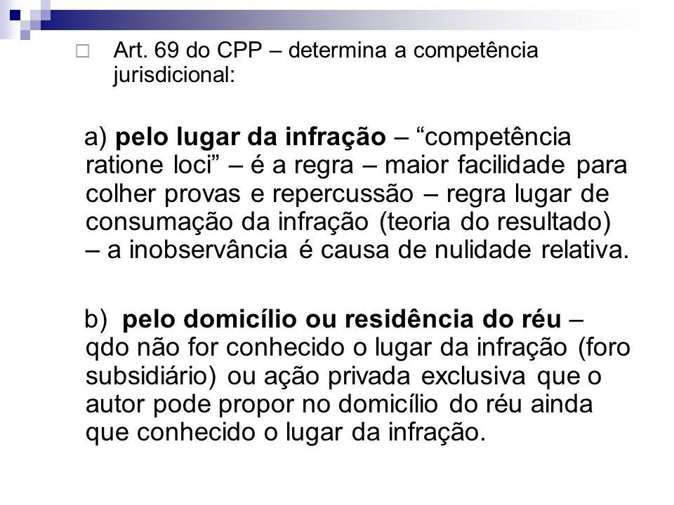 Art. 69 do CPP – determina a competência jurisdicional: a) pelo lugar da infração – competência ratione loci – é a regra – maior facilidade para colhe