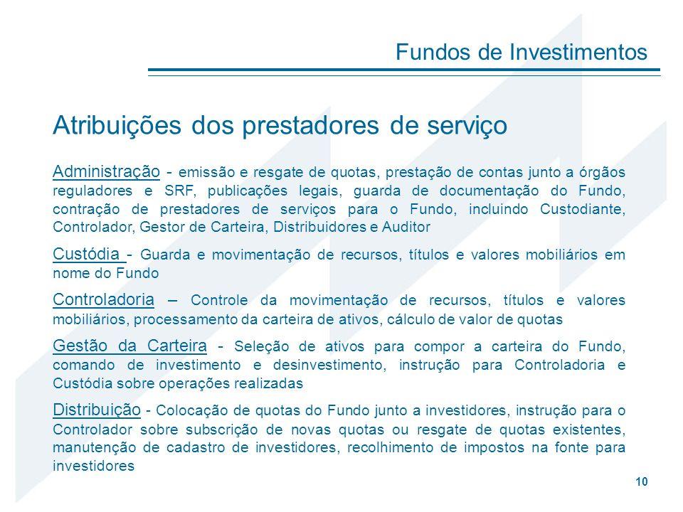 Fundos de Investimentos 10 Atribuições dos prestadores de serviço Administração - emissão e resgate de quotas, prestação de contas junto a órgãos regu