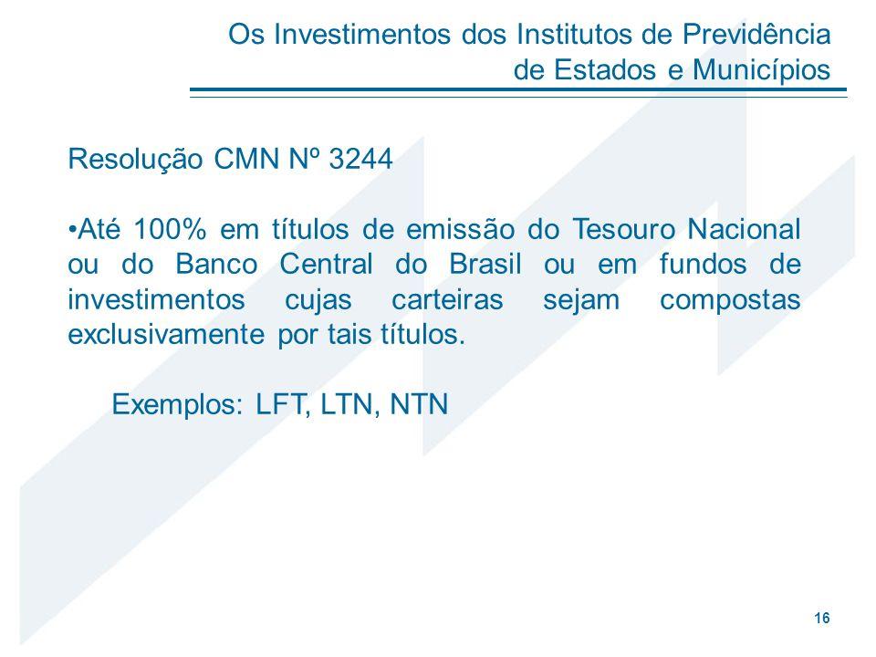 Resolução CMN Nº 3244 Até 100% em títulos de emissão do Tesouro Nacional ou do Banco Central do Brasil ou em fundos de investimentos cujas carteiras s