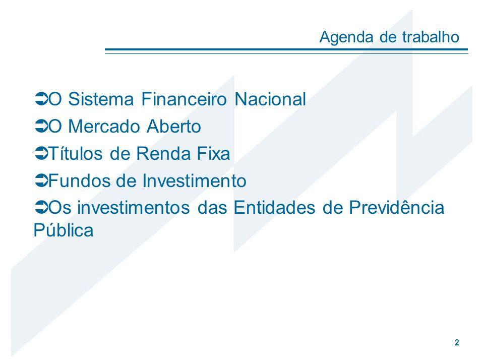 O Sistema Financeiro Nacional O Mercado Aberto Títulos de Renda Fixa Fundos de Investimento Os investimentos das Entidades de Previdência Pública Agen
