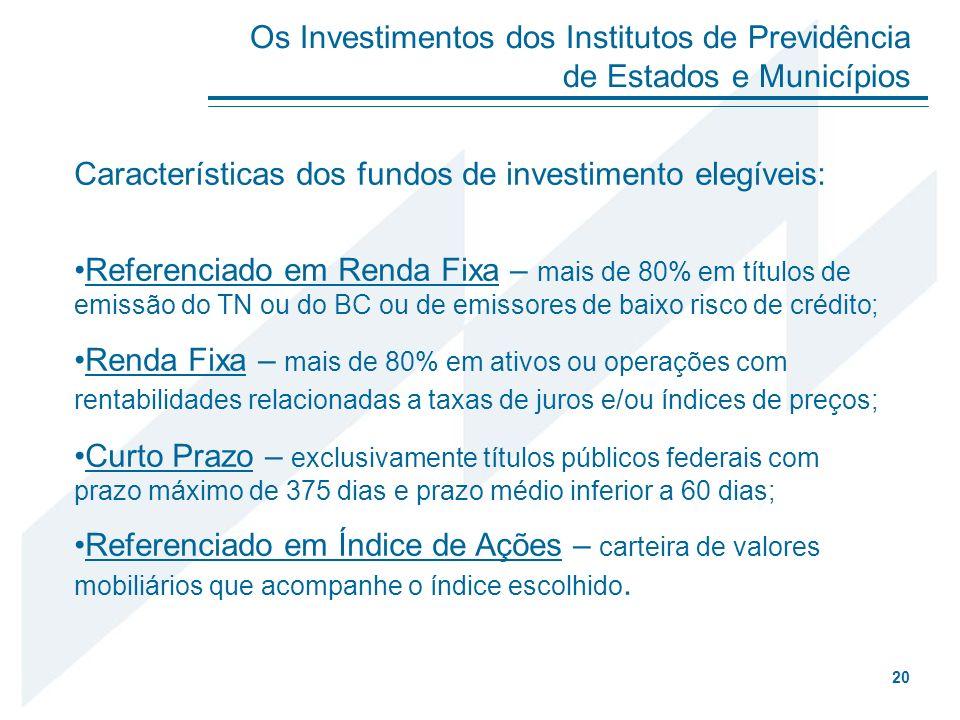 Características dos fundos de investimento elegíveis: Referenciado em Renda Fixa – mais de 80% em títulos de emissão do TN ou do BC ou de emissores de