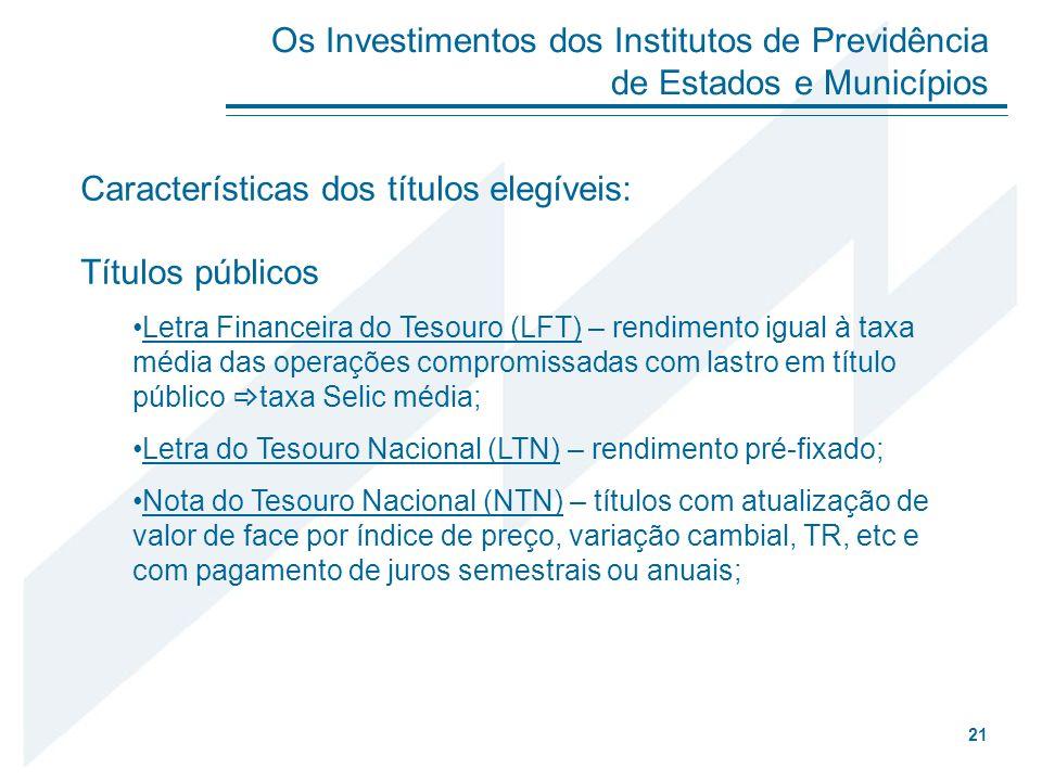 Características dos títulos elegíveis: Títulos públicos Letra Financeira do Tesouro (LFT) – rendimento igual à taxa média das operações compromissadas