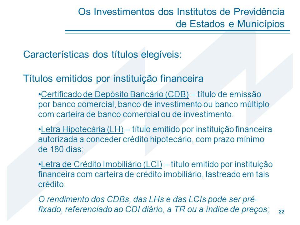 Características dos títulos elegíveis: Títulos emitidos por instituição financeira Certificado de Depósito Bancário (CDB) – título de emissão por banc