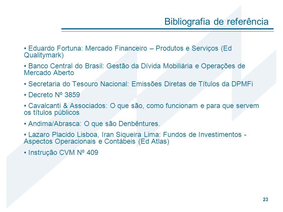 Eduardo Fortuna: Mercado Financeiro – Produtos e Serviços (Ed Qualitymark) Banco Central do Brasil: Gestão da Dívida Mobiliária e Operações de Mercado