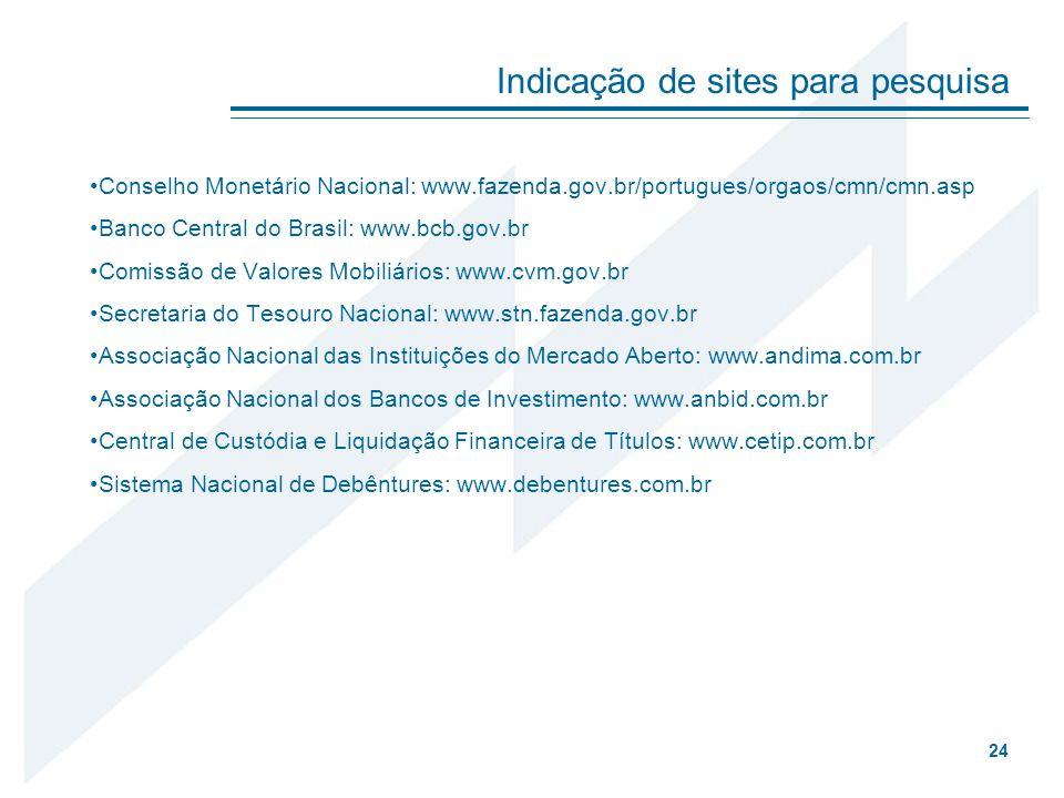 Conselho Monetário Nacional: www.fazenda.gov.br/portugues/orgaos/cmn/cmn.asp Banco Central do Brasil: www.bcb.gov.br Comissão de Valores Mobiliários: