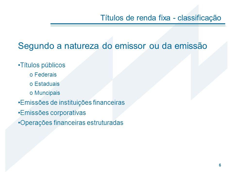 Segundo a natureza do emissor ou da emissão Títulos públicos o Federais o Estaduais o Muncipais Emissões de instituições financeiras Emissões corporat
