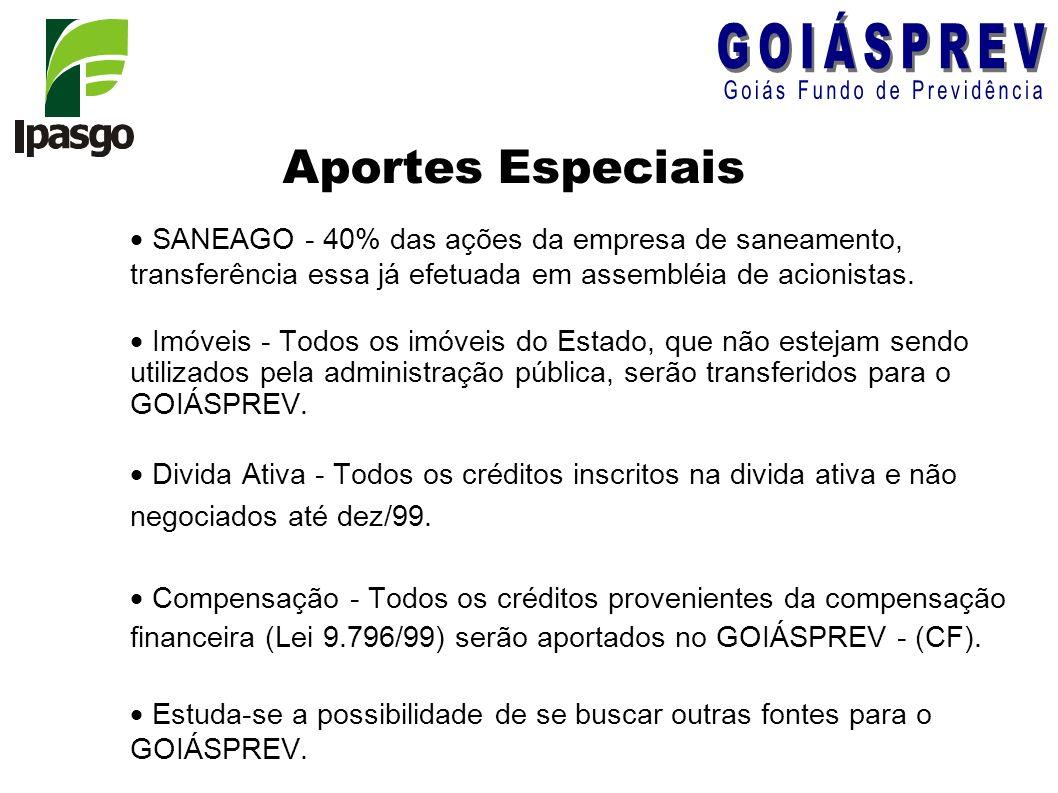 Aportes Especiais SANEAGO - 40% das ações da empresa de saneamento, transferência essa já efetuada em assembléia de acionistas. Imóveis - Todos os imó