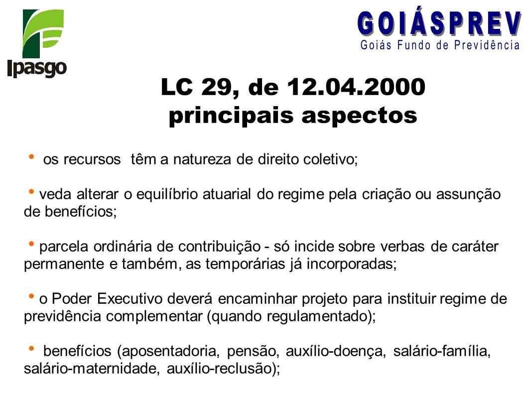 LC 29, de 12.04.2000 principais aspectos os recursos têm a natureza de direito coletivo; veda alterar o equilíbrio atuarial do regime pela criação ou