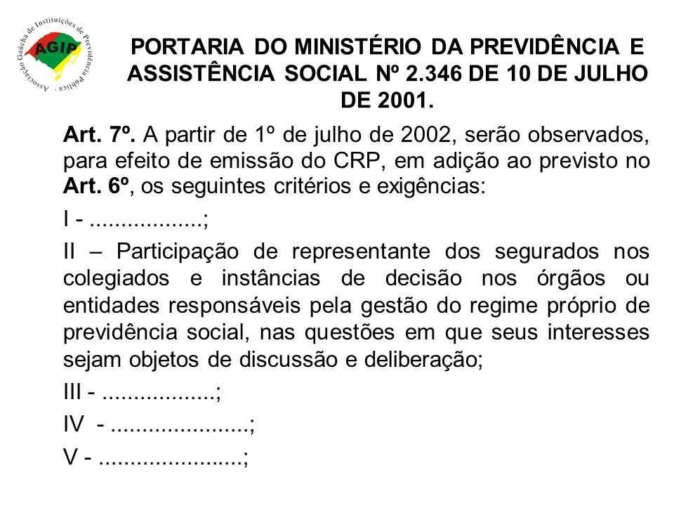 PORTARIA DO MINISTÉRIO DA PREVIDÊNCIA E ASSISTÊNCIA SOCIAL Nº 2.346 DE 10 DE JULHO DE 2001. Art. 7º. A partir de 1º de julho de 2002, serão observados