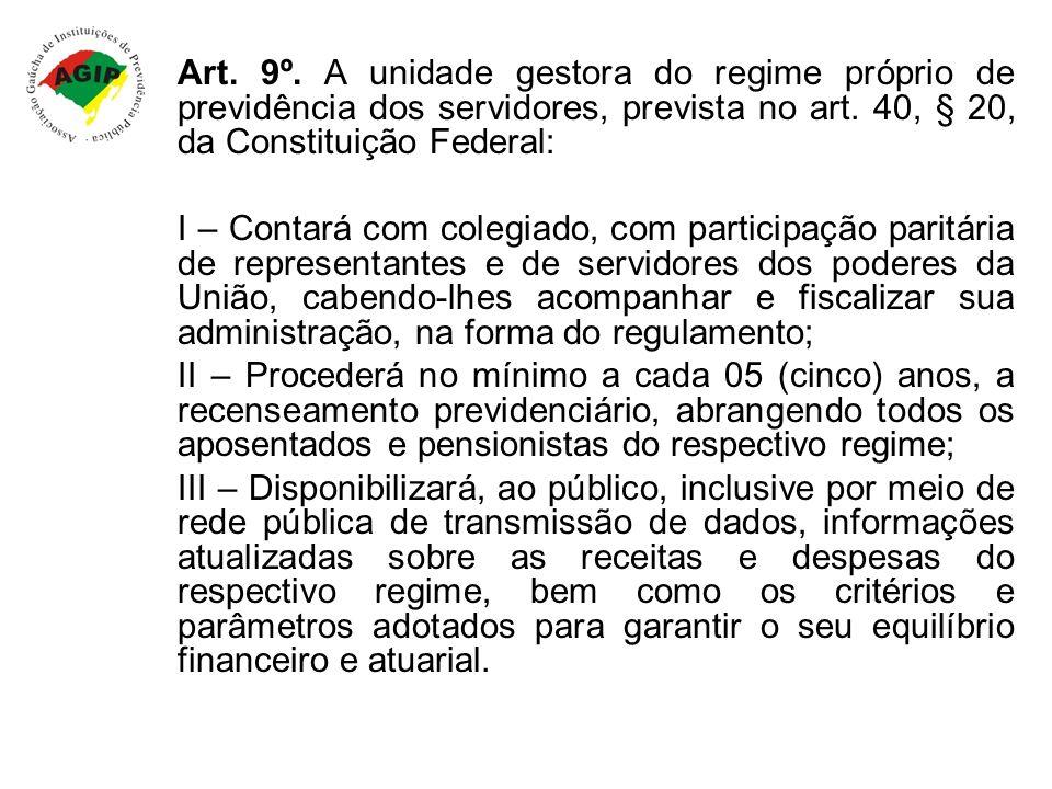 Art. 9º. A unidade gestora do regime próprio de previdência dos servidores, prevista no art. 40, § 20, da Constituição Federal: I – Contará com colegi