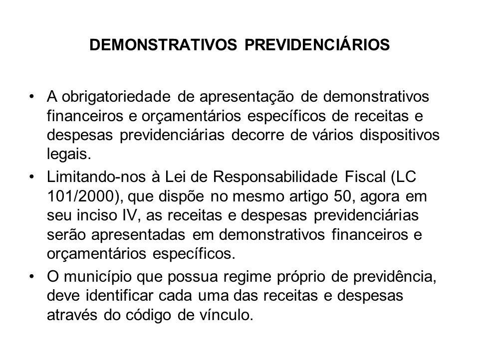 DEMONSTRATIVOS PREVIDENCIÁRIOS A obrigatoriedade de apresentação de demonstrativos financeiros e orçamentários específicos de receitas e despesas prev
