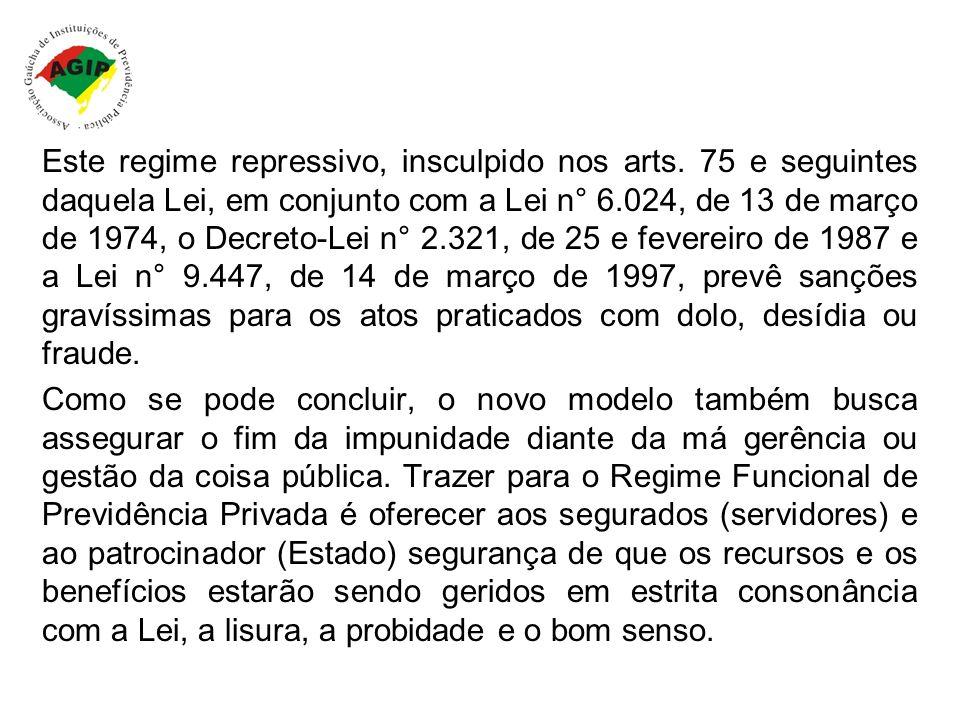 Este regime repressivo, insculpido nos arts. 75 e seguintes daquela Lei, em conjunto com a Lei n° 6.024, de 13 de março de 1974, o Decreto-Lei n° 2.32