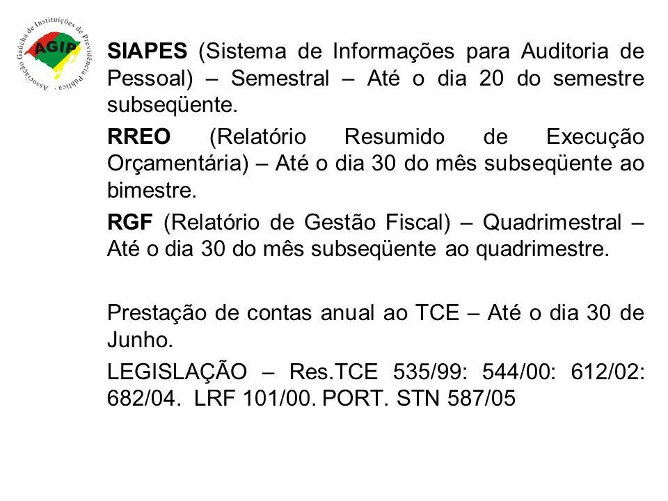 SIAPES (Sistema de Informações para Auditoria de Pessoal) – Semestral – Até o dia 20 do semestre subseqüente. RREO (Relatório Resumido de Execução Orç