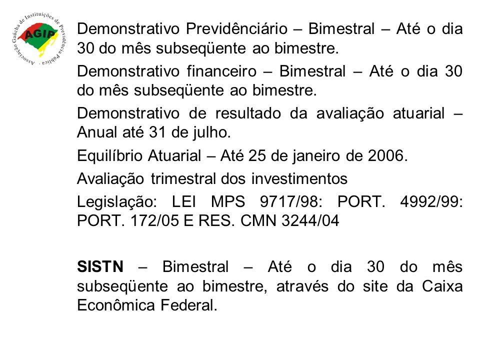 Demonstrativo Previdênciário – Bimestral – Até o dia 30 do mês subseqüente ao bimestre. Demonstrativo financeiro – Bimestral – Até o dia 30 do mês sub