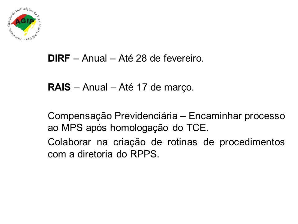 DIRF – Anual – Até 28 de fevereiro. RAIS – Anual – Até 17 de março. Compensação Previdenciária – Encaminhar processo ao MPS após homologação do TCE. C