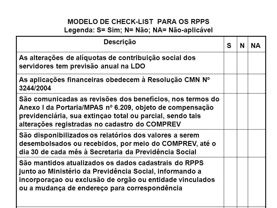 MODELO DE CHECK-LIST PARA OS RPPS Legenda: S= Sim; N= Não; NA= Não-aplicável Descrição SNNA As alterações de alíquotas de contribuição social dos serv