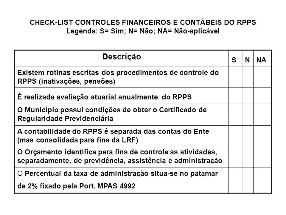 CHECK-LIST CONTROLES FINANCEIROS E CONTÁBEIS DO RPPS Legenda: S= Sim; N= Não; NA= Não-aplicável Descrição SNNA Existem rotinas escritas dos procedimen