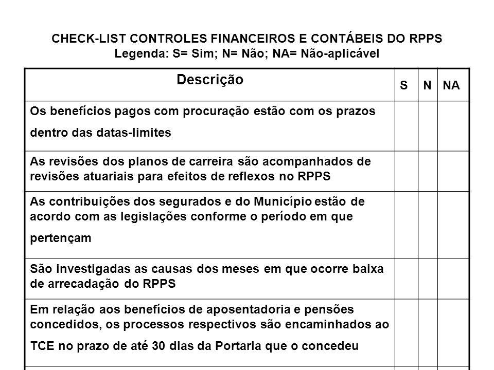 CHECK-LIST CONTROLES FINANCEIROS E CONTÁBEIS DO RPPS Legenda: S= Sim; N= Não; NA= Não-aplicável Descrição SNNA Os benefícios pagos com procuração estã