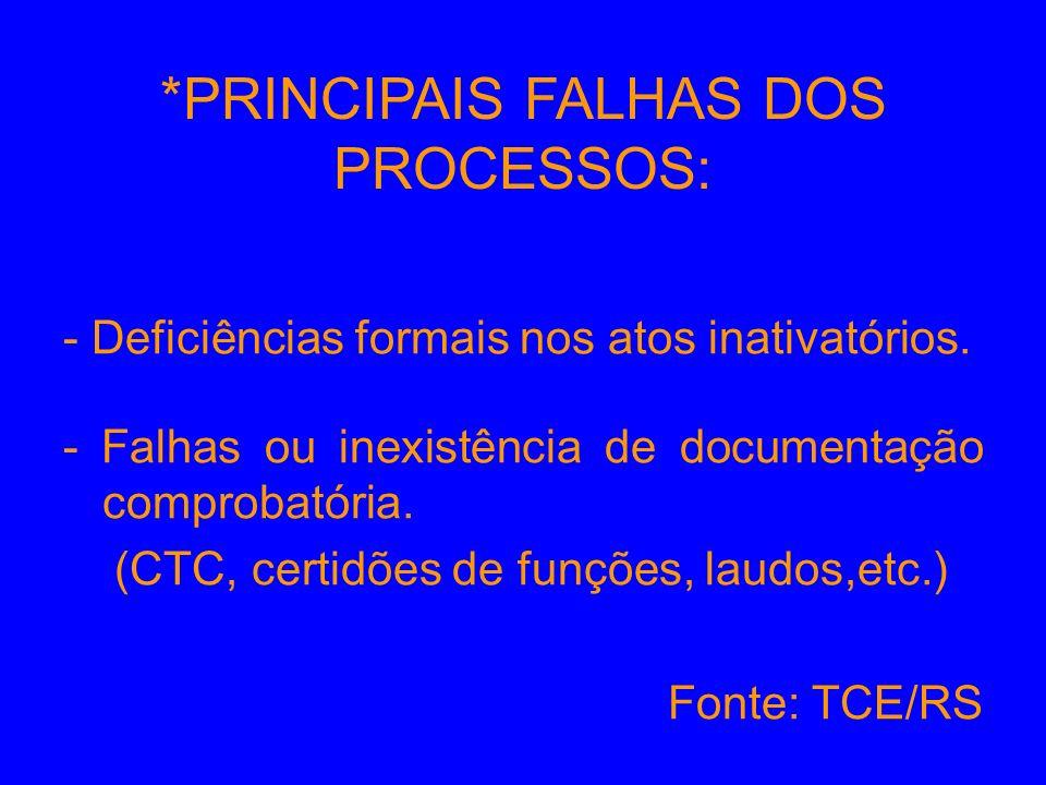 *PRINCIPAIS FALHAS DOS PROCESSOS: - Deficiências formais nos atos inativatórios. - Falhas ou inexistência de documentação comprobatória. (CTC, certidõ