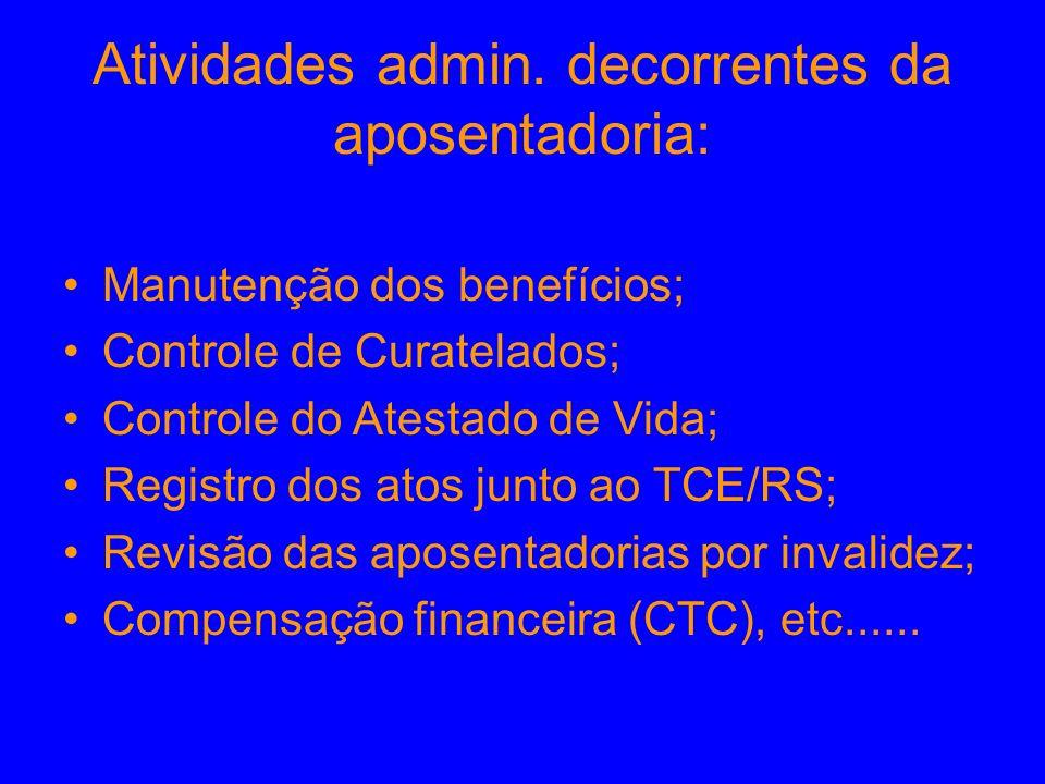 Atividades admin. decorrentes da aposentadoria: Manutenção dos benefícios; Controle de Curatelados; Controle do Atestado de Vida; Registro dos atos ju