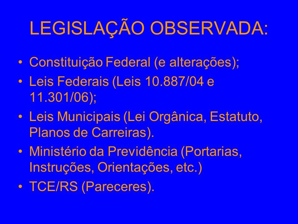 LEGISLAÇÃO OBSERVADA: Constituição Federal (e alterações); Leis Federais (Leis 10.887/04 e 11.301/06); Leis Municipais (Lei Orgânica, Estatuto, Planos de Carreiras).
