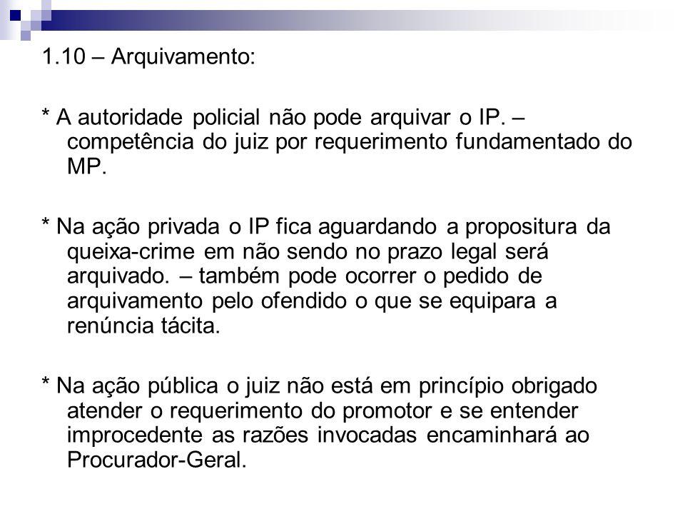 1.10 – Arquivamento: * A autoridade policial não pode arquivar o IP. – competência do juiz por requerimento fundamentado do MP. * Na ação privada o IP