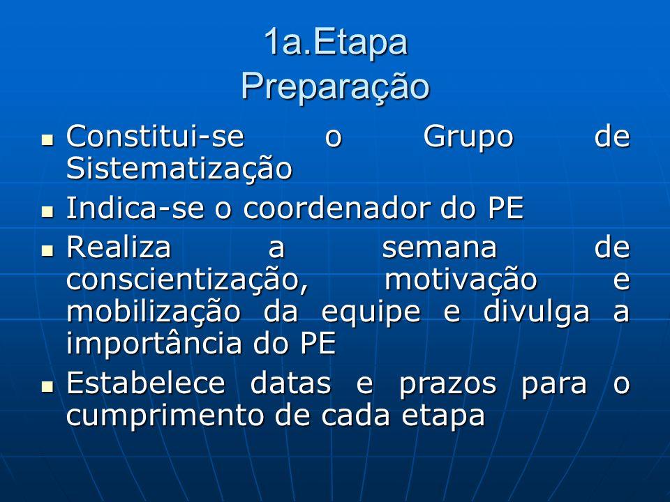 1a.Etapa Preparação Constitui-se o Grupo de Sistematização Constitui-se o Grupo de Sistematização Indica-se o coordenador do PE Indica-se o coordenado