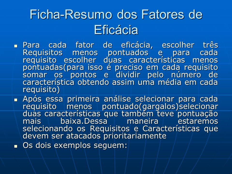 Ficha-Resumo dos Fatores de Eficácia Para cada fator de eficácia, escolher três Requisitos menos pontuados e para cada requisito escolher duas caracte