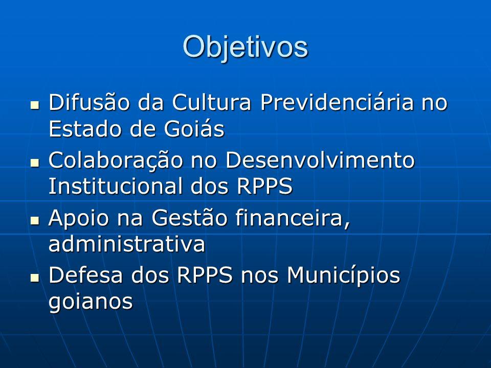 O Estado de Goiás é dividido em 246 Municípios O Estado de Goiás é dividido em 246 Municípios 172 com RPPS 172 com RPPS 97 são filiados da AGOPREM 97 são filiados da AGOPREM 42 estão capitalizando seus recursos 42 estão capitalizando seus recursos