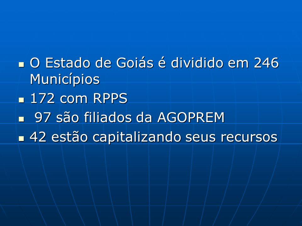 O Estado de Goiás é dividido em 246 Municípios O Estado de Goiás é dividido em 246 Municípios 172 com RPPS 172 com RPPS 97 são filiados da AGOPREM 97