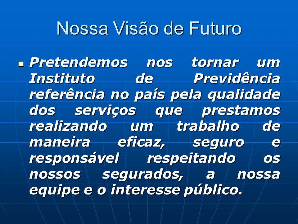 Nossa Visão de Futuro Pretendemos nos tornar um Instituto de Previdência referência no país pela qualidade dos serviços que prestamos realizando um tr