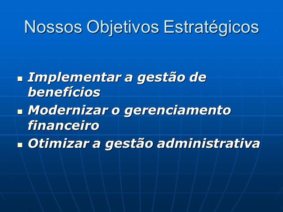 Nossos Objetivos Estratégicos Implementar a gestão de benefícios Implementar a gestão de benefícios Modernizar o gerenciamento financeiro Modernizar o