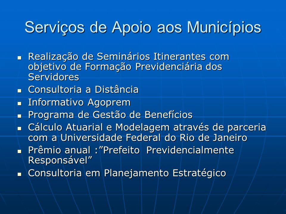 Serviços de Apoio aos Municípios Realização de Seminários Itinerantes com objetivo de Formação Previdenciária dos Servidores Realização de Seminários