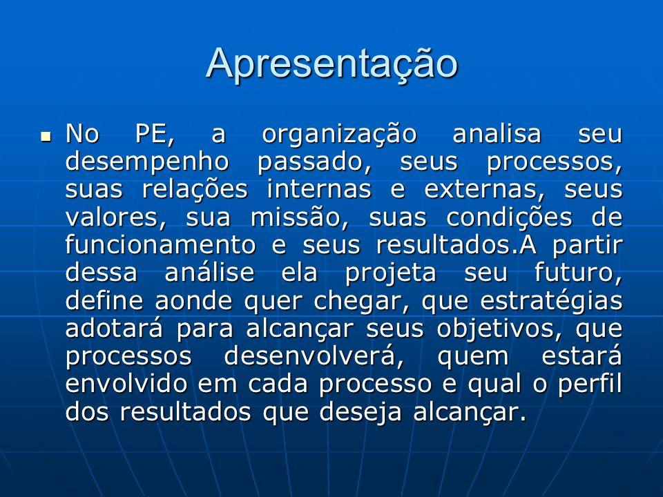Apresentação No PE, a organização analisa seu desempenho passado, seus processos, suas relações internas e externas, seus valores, sua missão, suas co