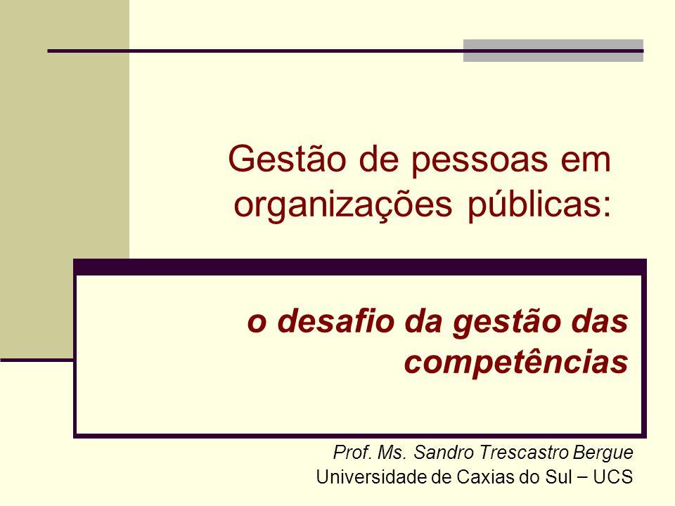 Apresentação Sandro Trescastro Bergue Doutorando em Administração – PPGA/UFRGS Mestre em Administração Pública – PPGA/UFRGS Administrador de Empresas Economista Professor da UCS nas áreas de Gestão de Pessoas; Organização, Métodos e Sistemas Administrativos; e Teorias das Organizações.