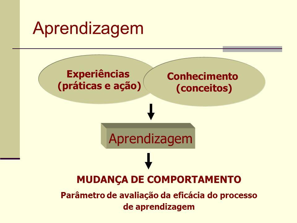 Aprendizagem Experiências (práticas e ação) Conhecimento (conceitos) Aprendizagem MUDANÇA DE COMPORTAMENTO Parâmetro de avaliação da eficácia do proce