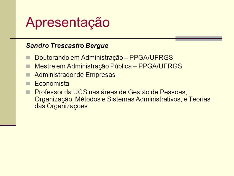 Apresentação Sandro Trescastro Bergue Doutorando em Administração – PPGA/UFRGS Mestre em Administração Pública – PPGA/UFRGS Administrador de Empresas