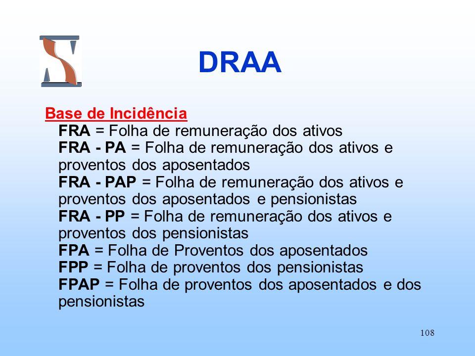 108 DRAA Base de Incidência FRA = Folha de remuneração dos ativos FRA - PA = Folha de remuneração dos ativos e proventos dos aposentados FRA - PAP = F