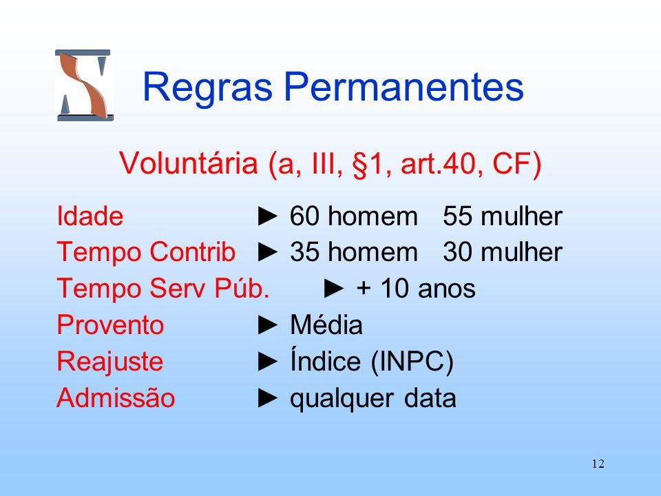 12 Regras Permanentes Voluntária ( a, III, §1, art.40, CF ) Idade 60 homem 55 mulher Tempo Contrib 35 homem 30 mulher Tempo Serv Púb. + 10 anos Proven