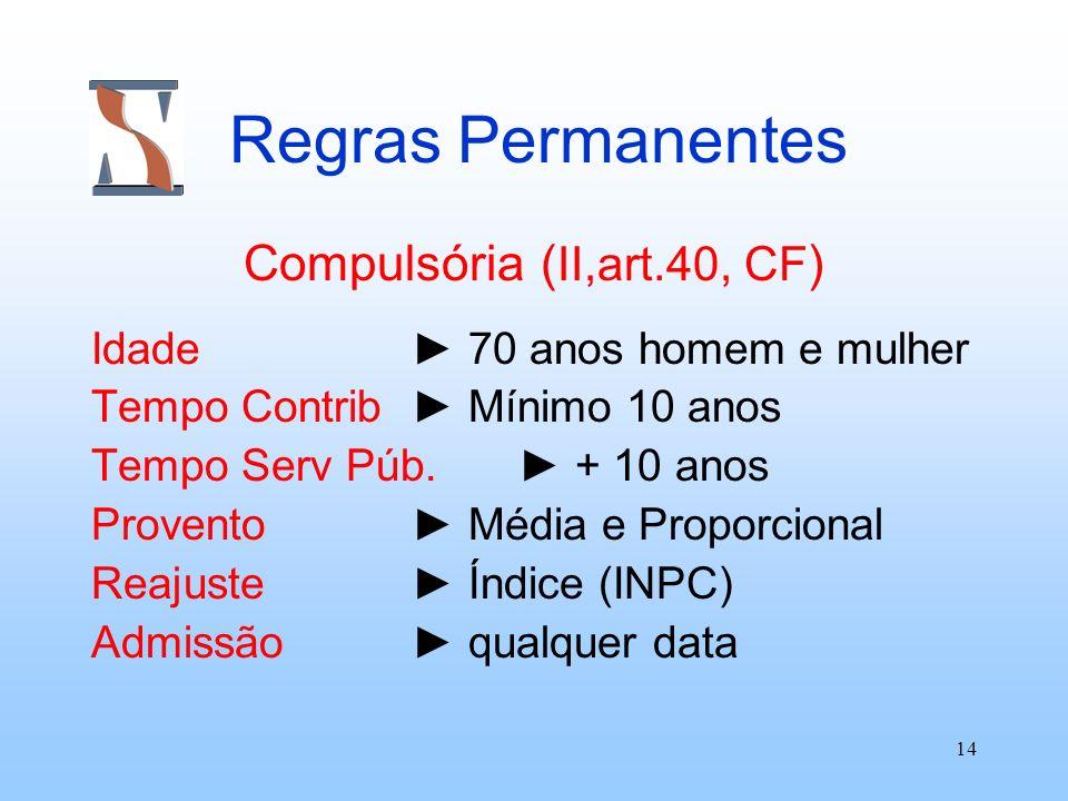 14 Regras Permanentes Compulsória ( II,art.40, CF ) Idade 70 anos homem e mulher Tempo Contrib Mínimo 10 anos Tempo Serv Púb. + 10 anos Provento Média