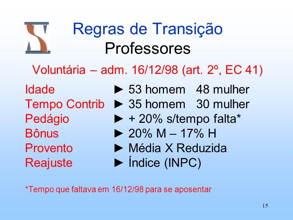 15 Regras de Transição Professores Voluntária – adm. 16/12/98 (art. 2º, EC 41) Idade 53 homem 48 mulher Tempo Contrib 35 homem 30 mulher Pedágio + 20%