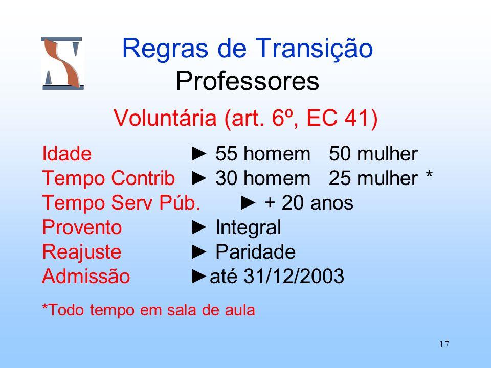 17 Regras de Transição Professores Voluntária (art. 6º, EC 41) Idade 55 homem 50 mulher Tempo Contrib 30 homem 25 mulher * Tempo Serv Púb. + 20 anos P