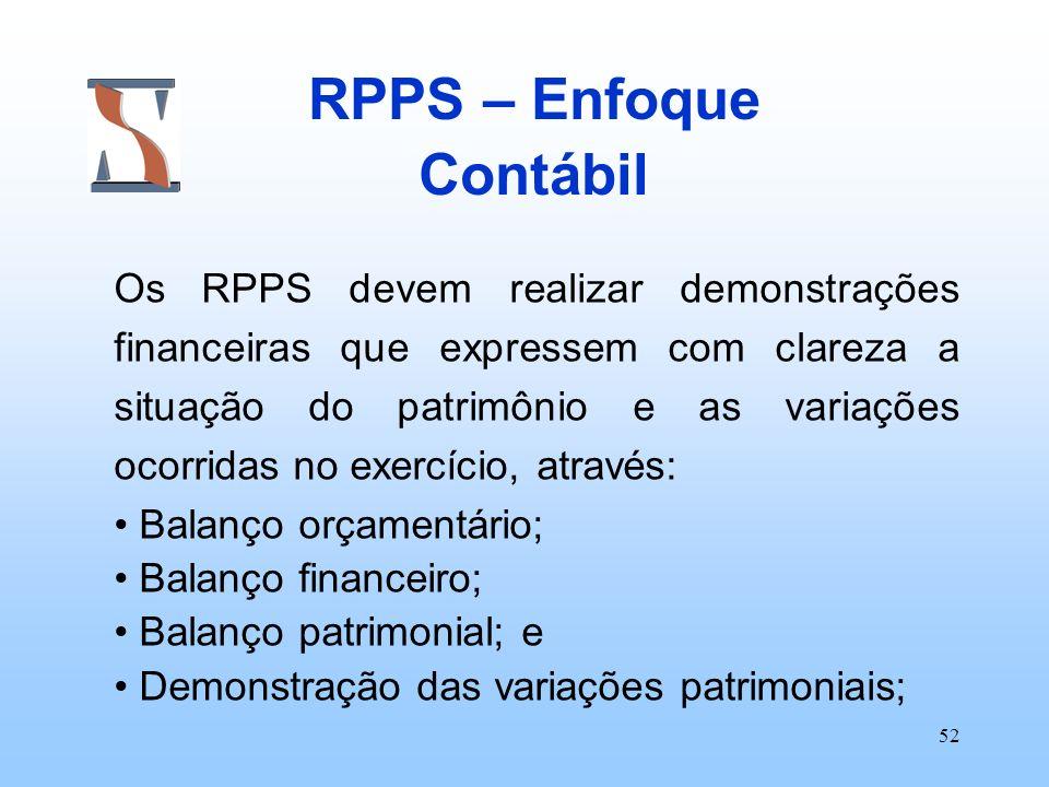 52 RPPS – Enfoque Contábil Os RPPS devem realizar demonstrações financeiras que expressem com clareza a situação do patrimônio e as variações ocorrida