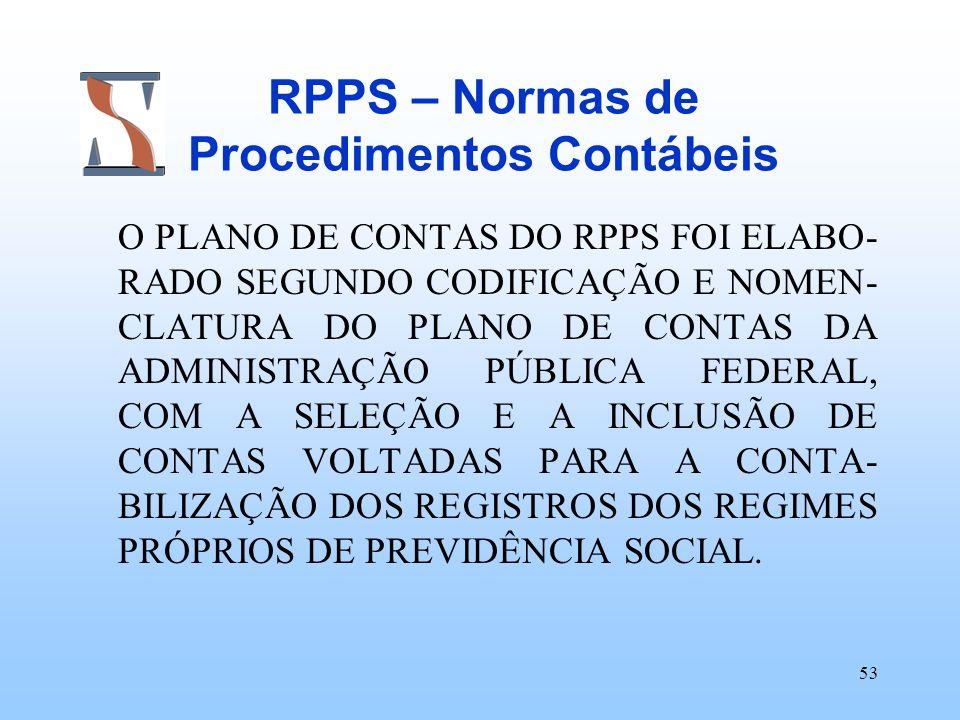 53 RPPS – Normas de Procedimentos Contábeis O PLANO DE CONTAS DO RPPS FOI ELABO- RADO SEGUNDO CODIFICAÇÃO E NOMEN- CLATURA DO PLANO DE CONTAS DA ADMIN