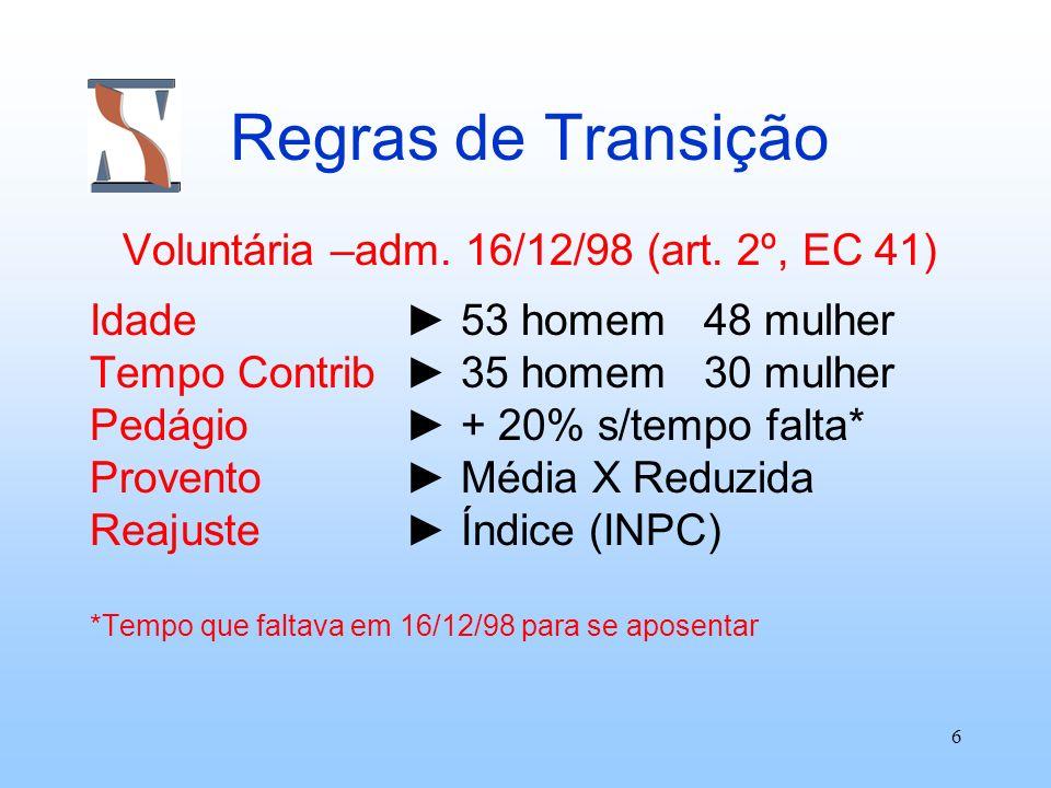 6 Regras de Transição Voluntária –adm. 16/12/98 (art. 2º, EC 41) Idade 53 homem 48 mulher Tempo Contrib 35 homem 30 mulher Pedágio + 20% s/tempo falta