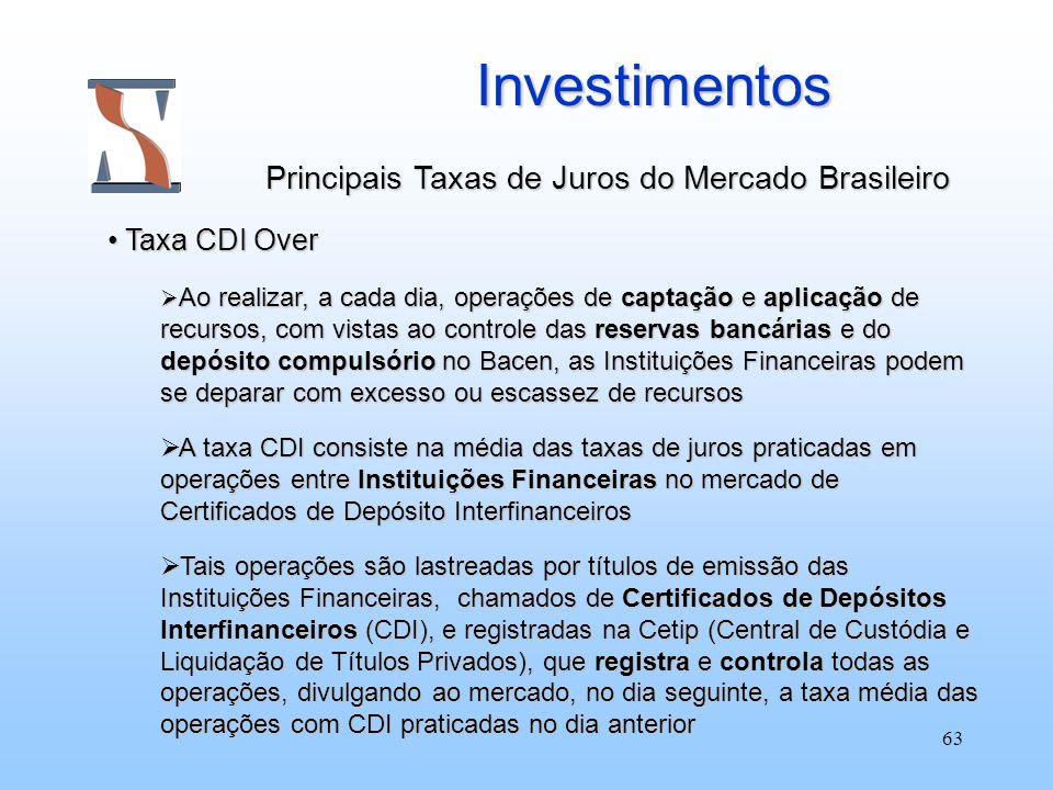 63 Investimentos Investimentos Principais Taxas de Juros do Mercado Brasileiro Taxa CDI Over Taxa CDI Over Ao realizar, a cada dia, operações de capta