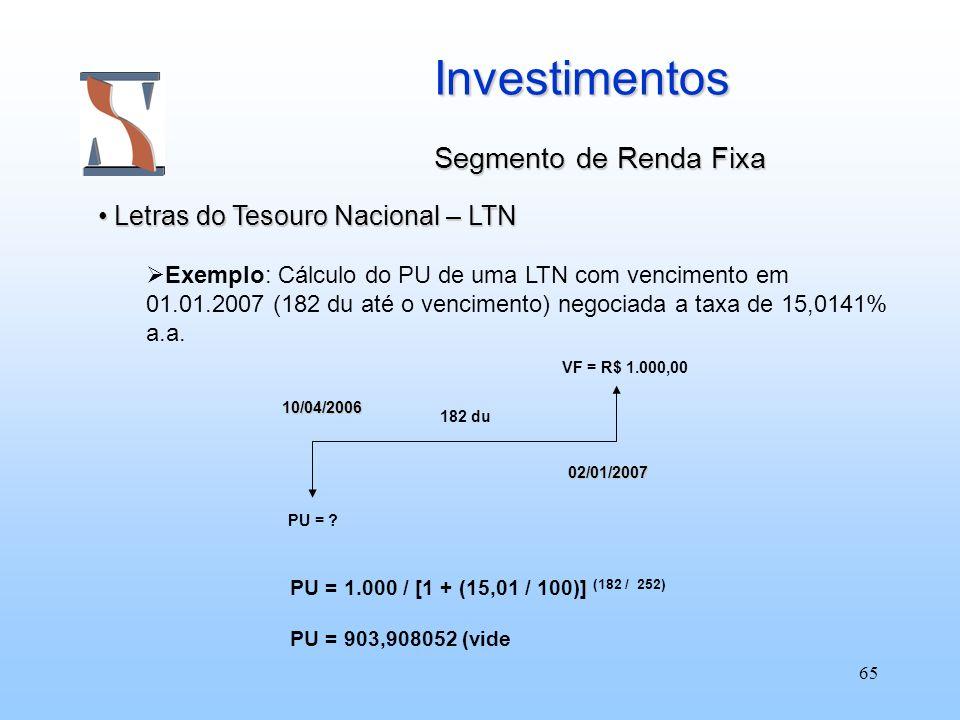 65 Investimentos Segmento de Renda Fixa Letras do Tesouro Nacional – LTN Letras do Tesouro Nacional – LTN Exemplo: Cálculo do PU de uma LTN com vencim