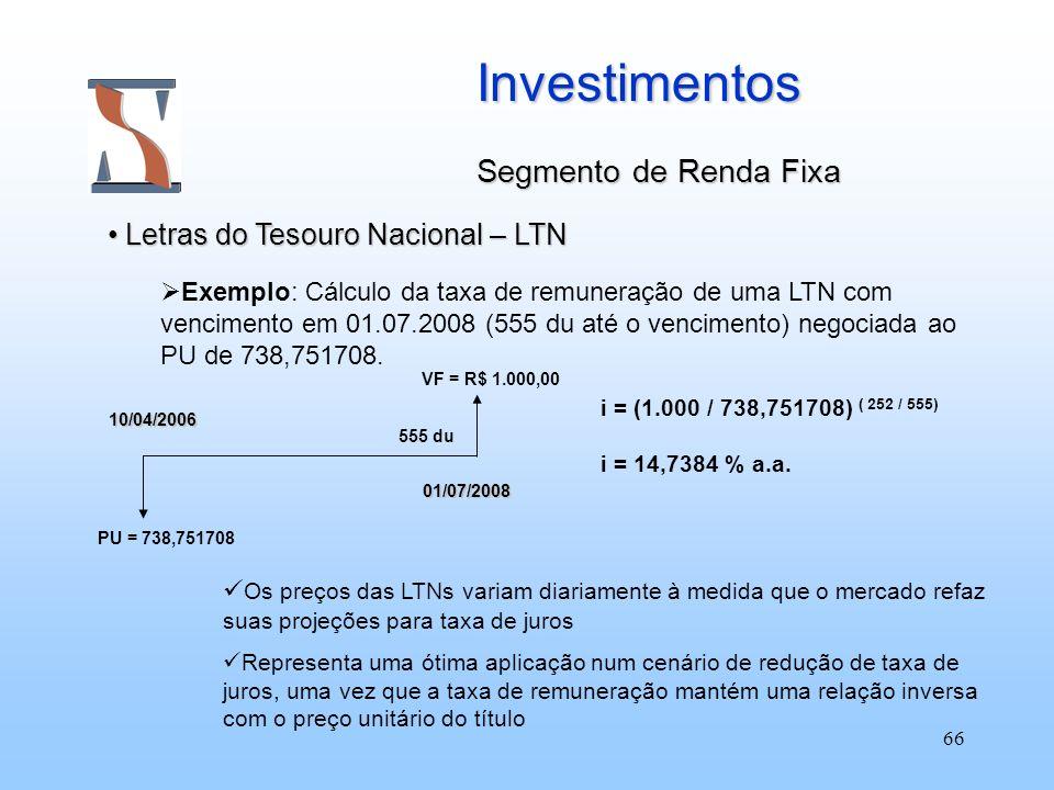 66 Investimentos Segmento de Renda Fixa Letras do Tesouro Nacional – LTN Letras do Tesouro Nacional – LTN Exemplo: Cálculo da taxa de remuneração de u