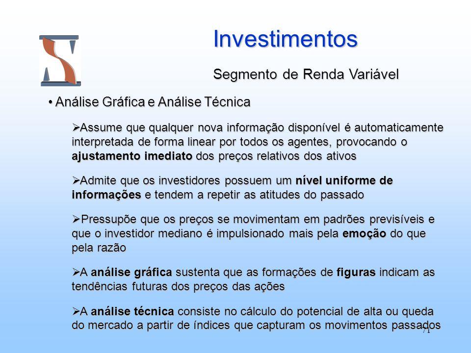 71 Investimentos Segmento de Renda Variável Análise Gráfica e Análise Técnica Análise Gráfica e Análise Técnica Assume que qualquer nova informação di