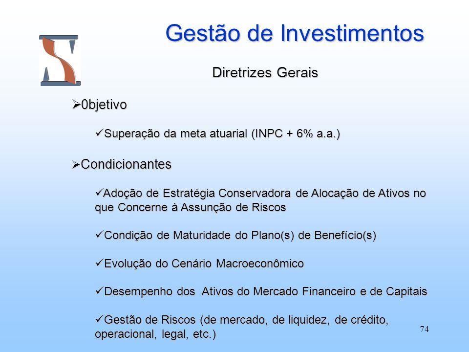 74 Gestão de Investimentos Diretrizes Gerais 0bjetivo 0bjetivo Superação da meta atuarial (INPC + 6% a.a.) Superação da meta atuarial (INPC + 6% a.a.)